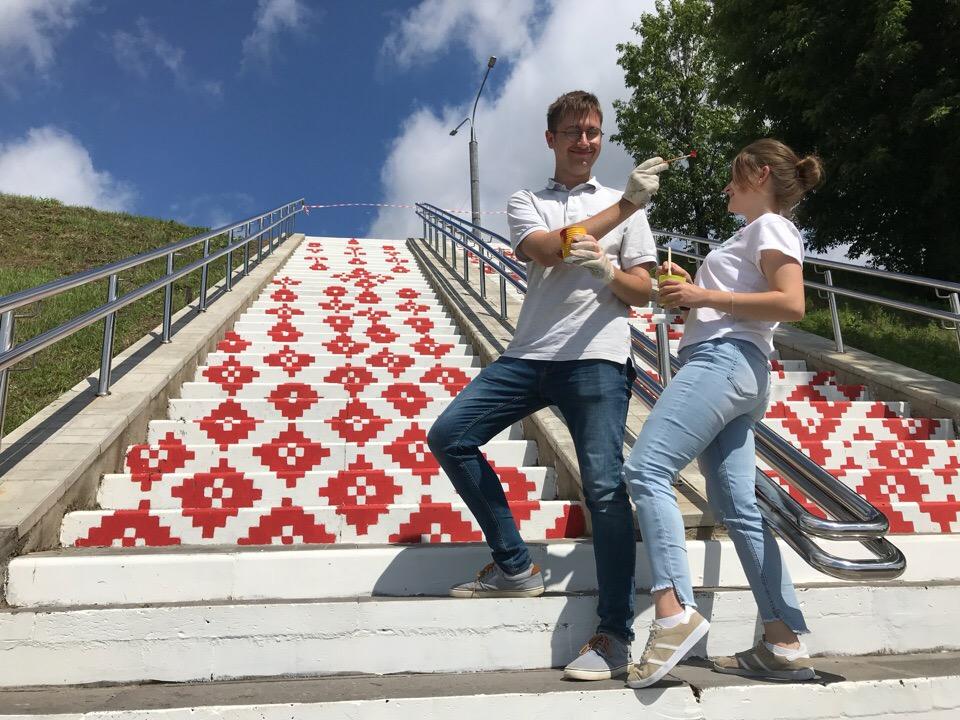 4 - В Могилеве появилась лестница-вышиванка